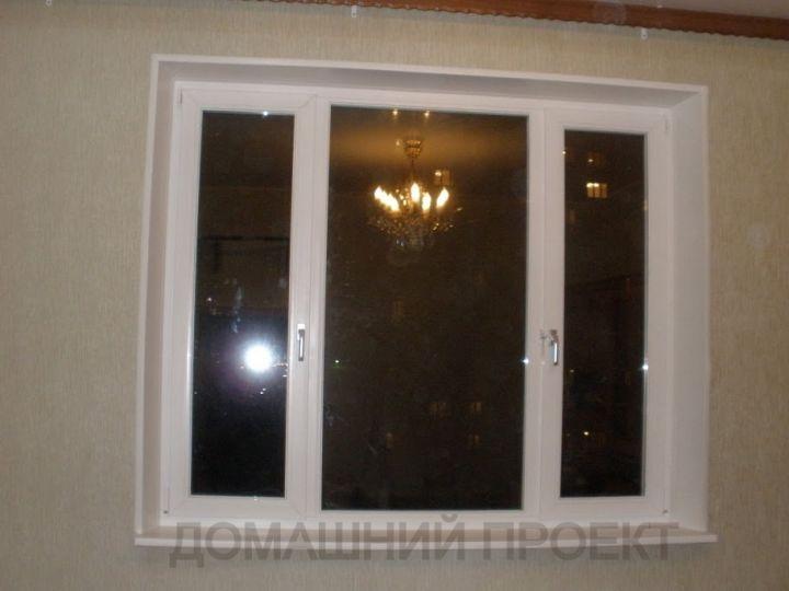 ПВХ-окно Рехау с отделкой откосов в квартире