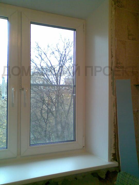 Окно ПВХ с отделкой откосов в квартире