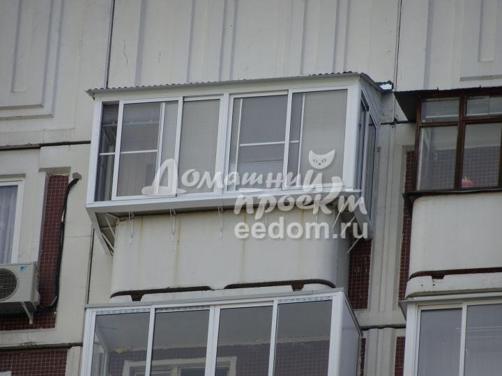 Остекление с выносом и крышей, отделка - Марьино 5