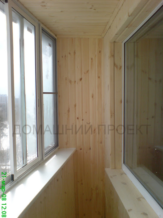 Отделка балкона п-44 деревянной вагонкой. отделка балконов д.