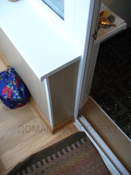 Отделка балкона панелями ПВХ с настилом линолеума